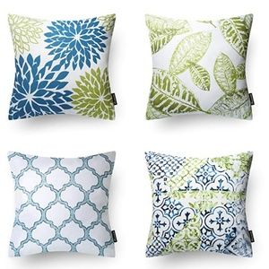 Blue and Green Decorative Throw Pillow Cases - 4